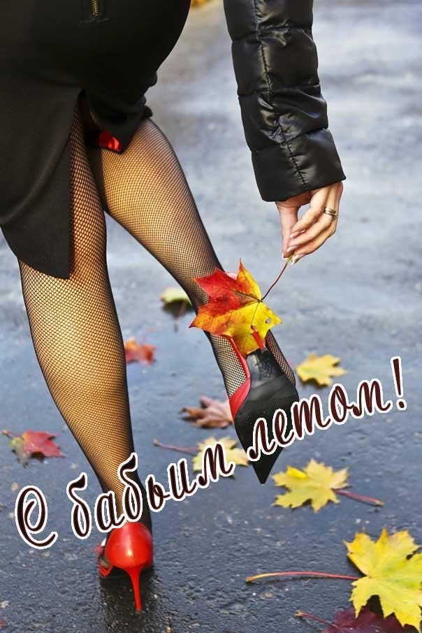 Бабье лето картинка, осень, теплая осень, летает паутина, девушка в колготах, осенние листья