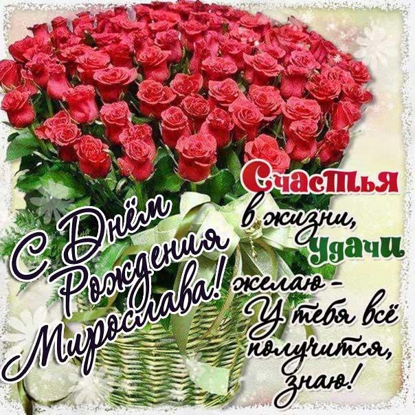 С днем рождения Мирослава картинки, Мирославе открытка с днем рождения, Мире день рождения, Мирославочка с днем рождения анимация, Мирочке именины картинки, поздравить Мирославу, для Мирославы с днем рождения, красные розы
