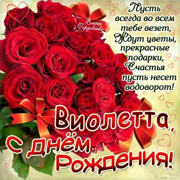 Виолетта c Днем рождения открытка. Розы, букет роз, подарок, красивая надпись, со стихом, мигающая, картинки, большой букет, шикарные розы, Виола, поздравление, картинка.