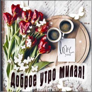 Доброе утро, милой с добрым утром, девушке утро доброе, подруге с добрым утром, утро кофе тюльпаны