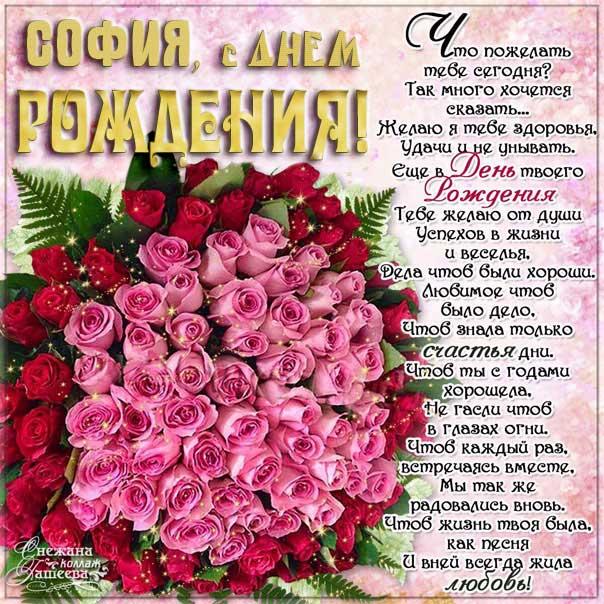 София с днем рождения красивый букет роз, Софие открытки день рождения, Софье к дню рождения, Софьюшку поздравить день рождения, Сонечка именины, Софию поздравить ДР